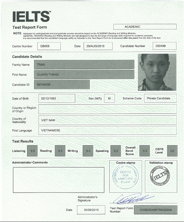 bang diem ielts 8.5